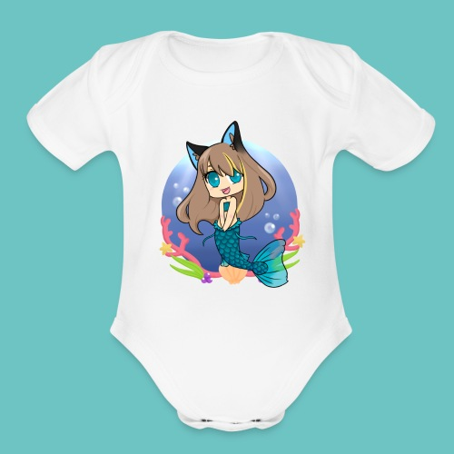 Frozencat3030- Mermaid in the Sea- For Babies!! - Organic Short Sleeve Baby Bodysuit
