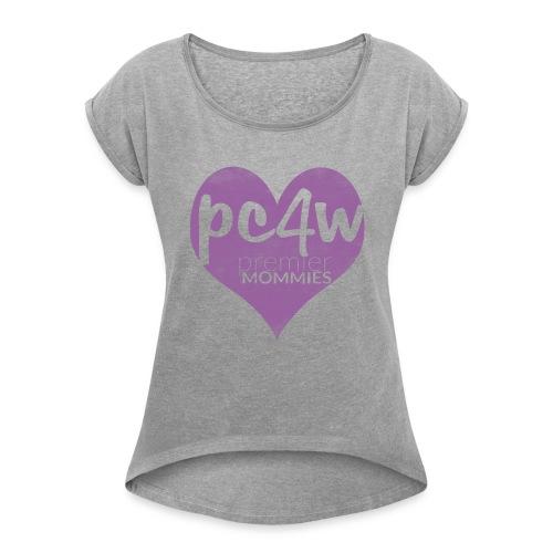Women´s Rolled Sleeve Boxy T-Shirt Purple Heart - Women's Roll Cuff T-Shirt