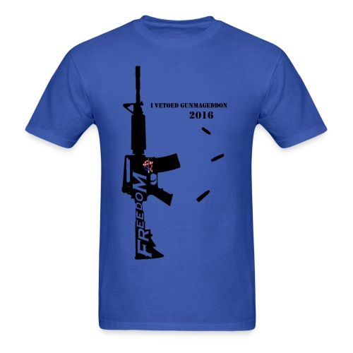 2A Anarchy Mens blue Freedom AR15 with bullets - Men's T-Shirt
