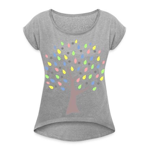 Memory Tree Pastel Shades  (Digital Print) - Women's Roll Cuff T-Shirt
