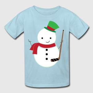 Ice Hockey Player Snowman Kids' Shirts - Kids' T-Shirt
