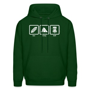 Adult Eat, Camp, Disc Golf Hoodie - White Print - Choose Color Tee - Men's Hoodie