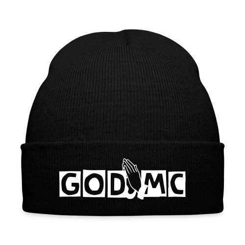God MC Beanie (white letters) - Knit Cap with Cuff Print