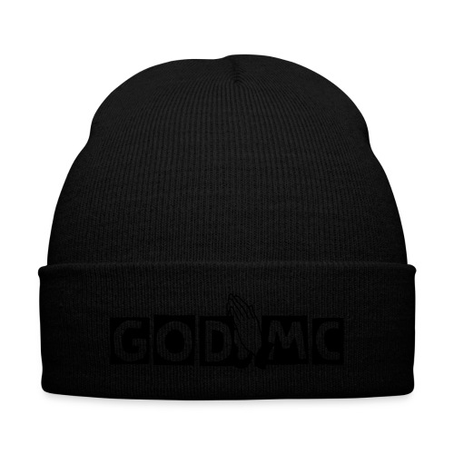 God MC Beanie (Black letters) - Knit Cap with Cuff Print