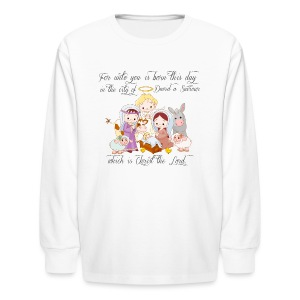 Baby Jesus Manger Scene kids long sleeve t-shirt - Kids' Long Sleeve T-Shirt