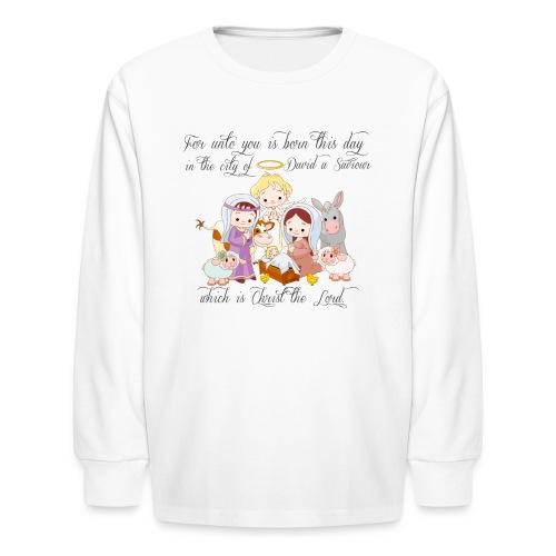 Baby Jesus Manger Scene kids long sleeve t-shirt - Kids' Long Sleeve T-Shirt