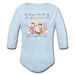 Baby Jesus Manger Scene Baby long sleeve T-shirt - Long Sleeve Baby Bodysuit