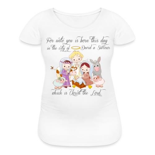 Baby Jesus Manger Scene Maternity T-shirt - Women's Maternity T-Shirt