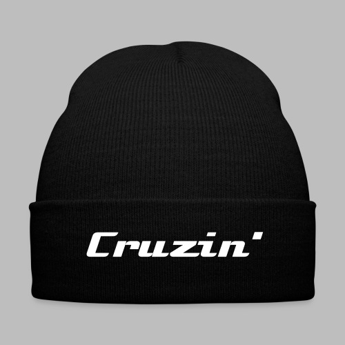 Black knit Cruzin beanie - Knit Cap with Cuff Print