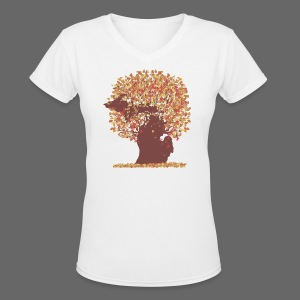 Michigan Autumn Tree Shirt - Women's V-Neck T-Shirt