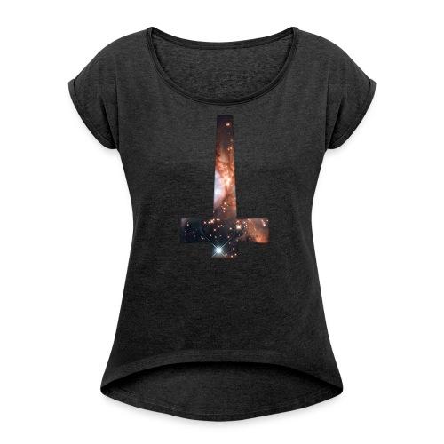 WOMENS RE-INVERTED CROSS  T-SHIRT - Women's Roll Cuff T-Shirt
