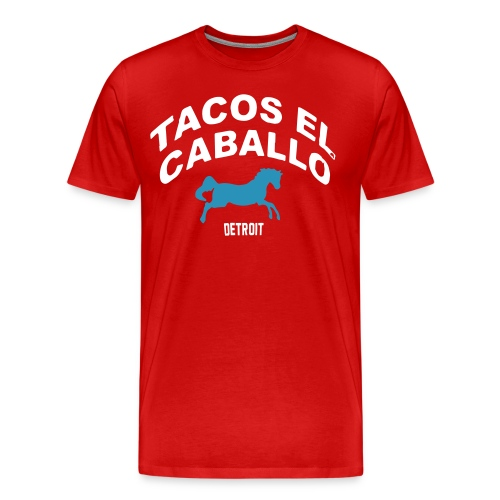 Piston Red Teal/White Flocked TACO T-Shirt by TIMØ for Tacos El Caballo Taco Truck - Men's Premium T-Shirt
