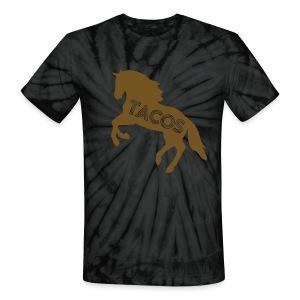 Motor City Tie Dye Gilded Glitz TACO T-Shirt by TIMØ for Tacos El Caballo Taco Truck - Unisex Tie Dye T-Shirt