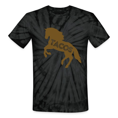 Motor City Tie Dye Gilded Glitz TACO T-Shirt by TIMØ for Tacos El Caballo Taco Truck - Unisex Tie Dye T-Shirt