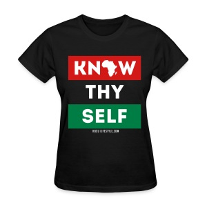 Know Thy Self - Women's Red, Black, and Green T-shirt - Women's T-Shirt