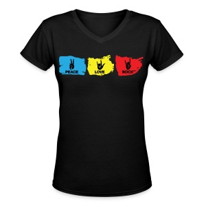Peace - Love - Rock: Black - Women's V-Neck T-Shirt