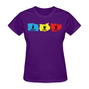 Peace - Love - Rock: Purple - Women's T-Shirt