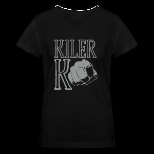 Women's V-Neck T-Shirt - ufc,mma,mixed marial arts,kilerk0,kiler,girls who fight,fighting,fighter,bellator