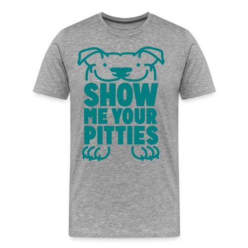 Show Me Your Pitties Unisex T-Shirt (Gray/Teal) - Men's Premium T-Shirt