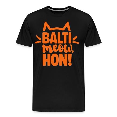 Balti-Meow, Hon! Unisex T-Shirt (Black/Orange) - Men's Premium T-Shirt
