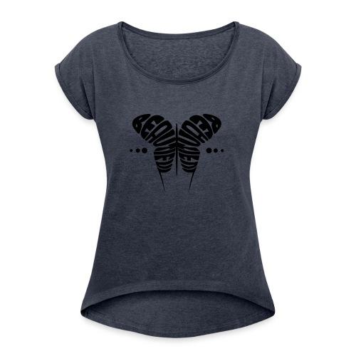 Beautiful Butterfly V2 BLACK Rolled Sleeve Boxy T-Shirt - Women - Women's Roll Cuff T-Shirt
