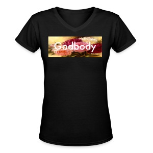 Womens Godbody  Floral  Box Logo  V  Neck Tee - Women's V-Neck T-Shirt