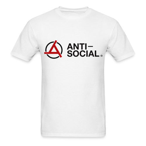 Anti-Social White (Mens Tee) - Men's T-Shirt