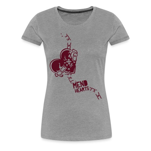 Women's Mend Hearts (Gray) - Women's Premium T-Shirt
