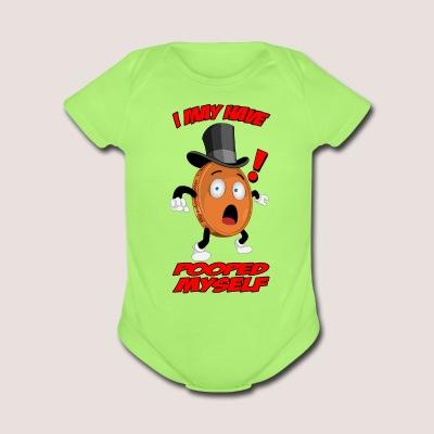 Baby's POOPED MYSELF Penny One Piece , w/ Text - Short Sleeve Baby Bodysuit