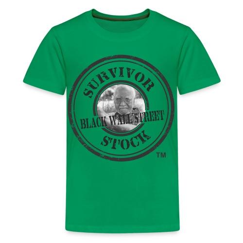 Youth Black Wall Street Survivor Stock Black Stamp Tee  - Kids' Premium T-Shirt