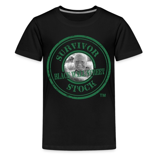 Youth Black Wall Street Survivor Stock Green Stamp Tee  - Kids' Premium T-Shirt
