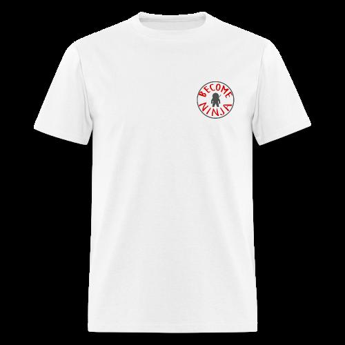 BECOME NINJA CIRCLE - GRYRED ON WHT - Men's T-Shirt
