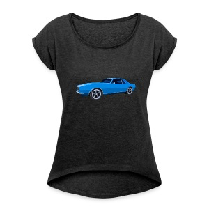 Blue Camaro SS Women Rolled Boxy T - Women's Roll Cuff T-Shirt