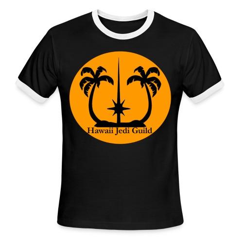 Men's Ringer T-Shirt - yoda,the force,palm trees,jedi realist,jedi,hawaiian islands,hawaiian,hawaii jedi guild,hawaii jedi,hawaii