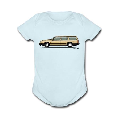 Volvo 740 745 Wagon Gold - Organic Short Sleeve Baby Bodysuit