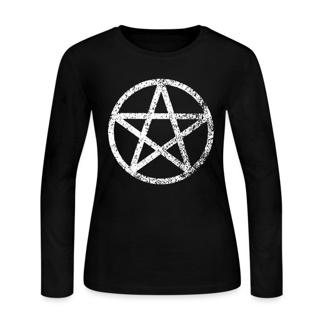 Playgod Wicca Pentagram Womens Long Sleeve Jersey T Shirt