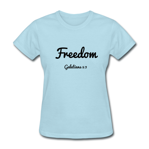 Women's Freedom- Galatians 5:1 Dark Print - Women's T-Shirt