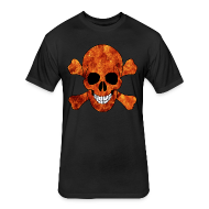 T-Shirts ~ Fitted Cotton/Poly T-Shirt by Next Level ~ Orange Fire Skull And CrossbonesShirt