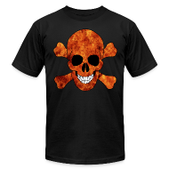 T-Shirts ~ Men's T-Shirt by American Apparel ~ Orange Fire Skull And CrossbonesShirt