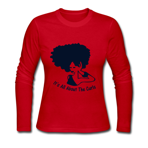 Long Sleeve Tee w/Black Glitter Decal - Women's Long Sleeve Jersey T-Shirt