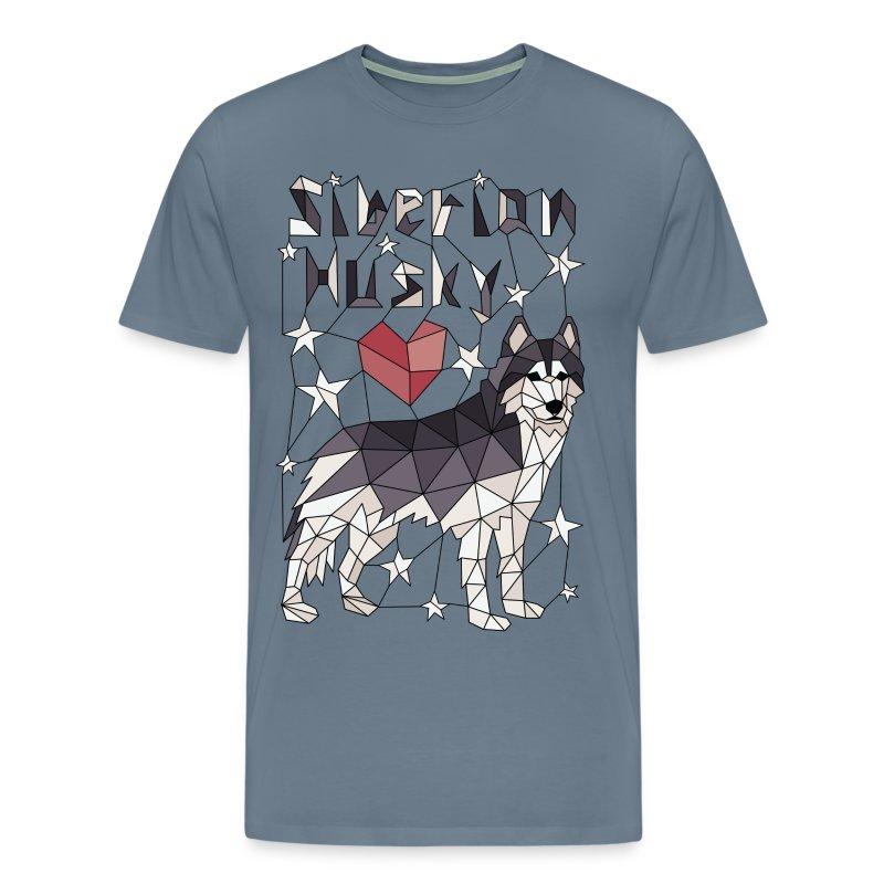 Geometric Siberian Husky - Men's Premium T-Shirt