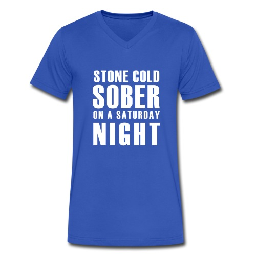 Stone Cold Sober On A Saturday Night  V Neck Mens T-Shirt Various Colours - Men's V-Neck T-Shirt by Canvas