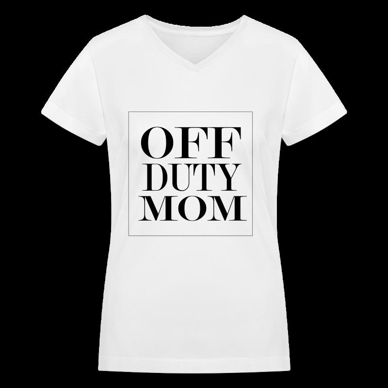 Off Duty Mom V-Neck Tee (White/Black)  - Women's V-Neck T-Shirt