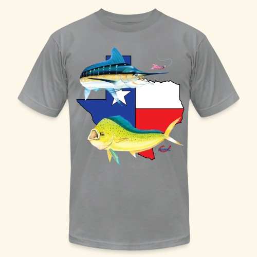 Hookat  Texas Marlin and Dolphin - Men's Fine Jersey T-Shirt