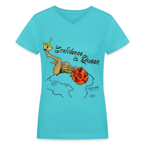 Confident Queen  - Women's V-Neck T-Shirt