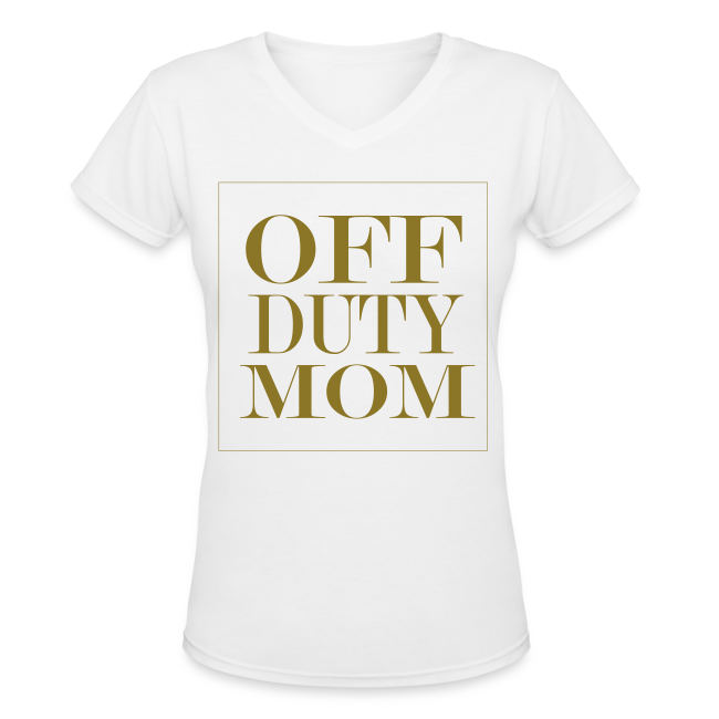 Off Duty Mom V-Neck Tee (White/Metallic Gold)