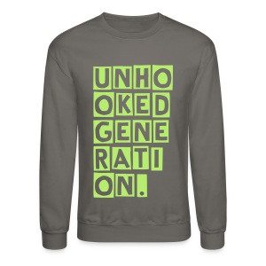 UNHOOKED BLOCK LONG SLEEVE GRY/LIME - Crewneck Sweatshirt