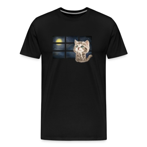 praying cat (black T-shirt) - Men's Premium T-Shirt
