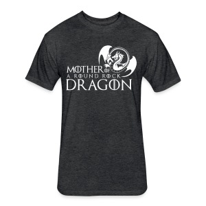 Charcoal Unisex Tee  | White Mother of A Round Rock Dragon - Fitted Cotton/Poly T-Shirt by Next Level