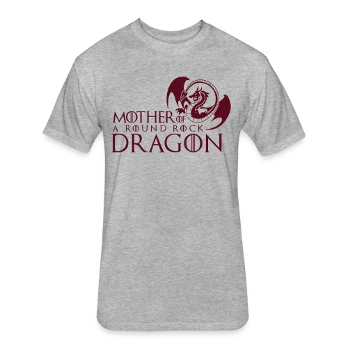 Grey Unisex Tee |  Maroon Mother of A Round Rock Dragon - Fitted Cotton/Poly T-Shirt by Next Level